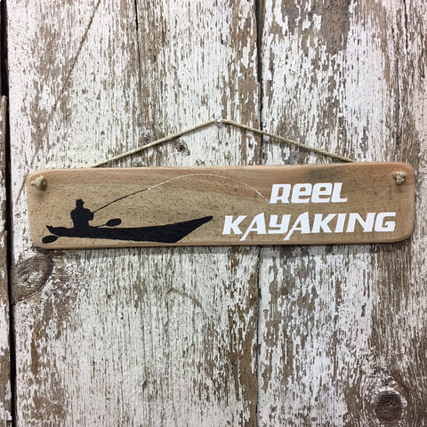 kayak fishing gift for kayak fisherman reel kayaking wood sign