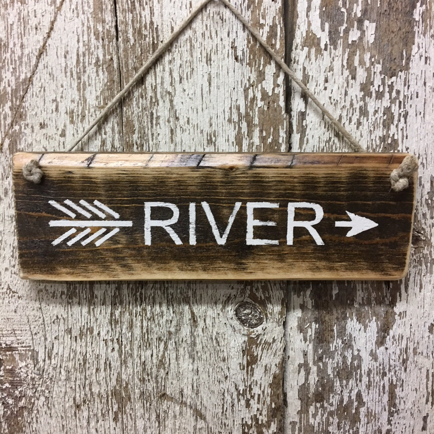 river arrow sign river house river living decor and gift ideas