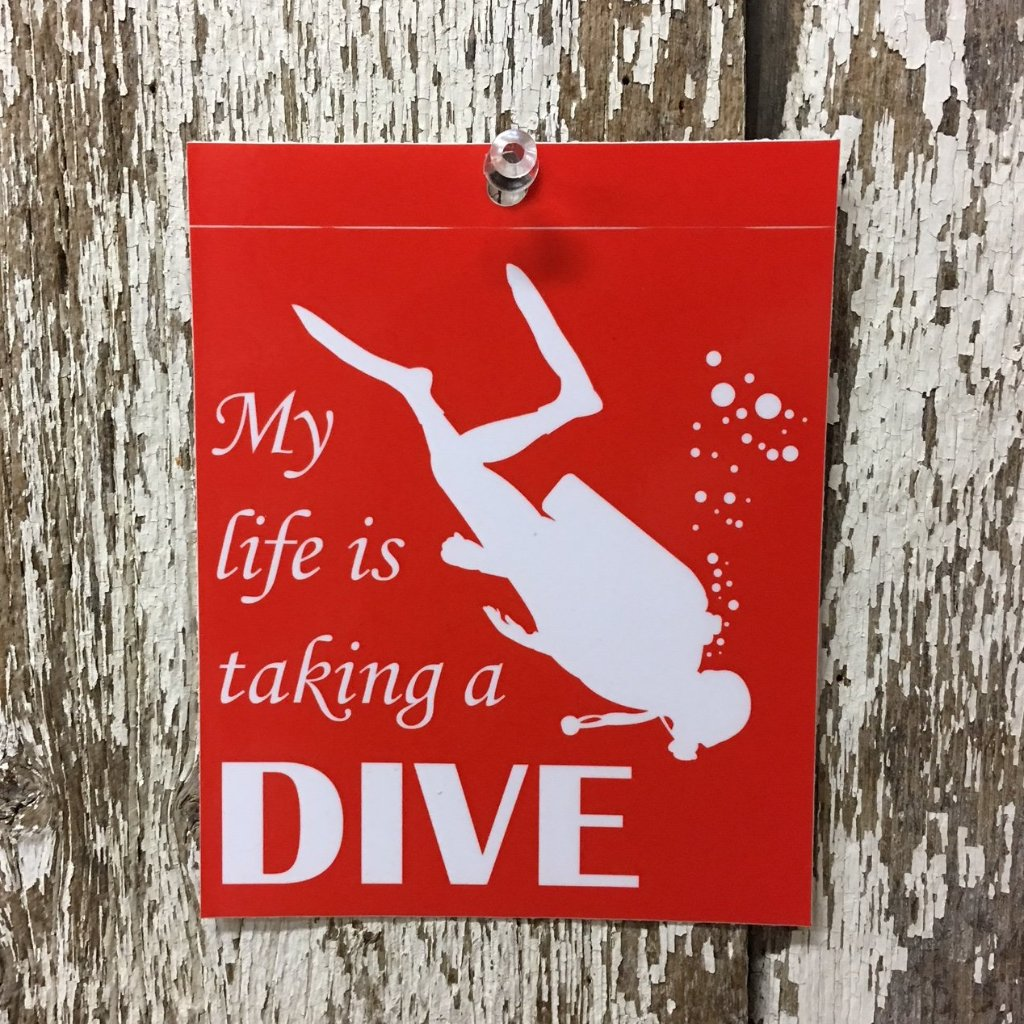 Scuba Diving Decal My life is taking a DIVE Red with white lettering and diver