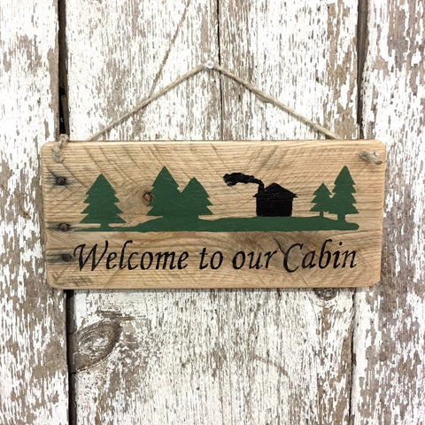 Welcome to our Cabin sign welcome signs and decor rustic wood