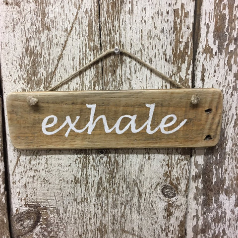 exhale relax breathe sign yoga yogis gift idea wood sign