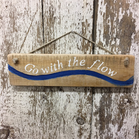 go with the flow reclaimed wood sign kayak yoga water themed