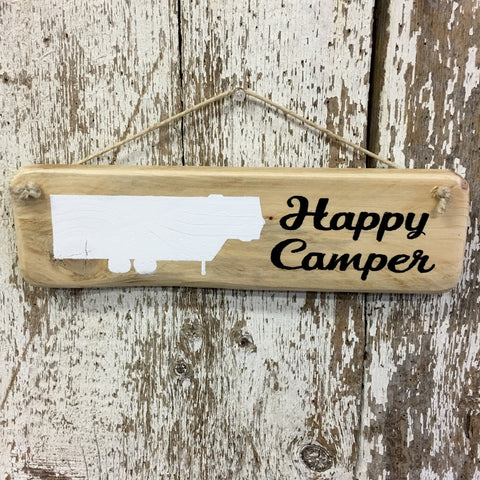 happy camper sign rv 5th wheel pull behind travel trailer reclaimed wood hand painted gift decor for camper