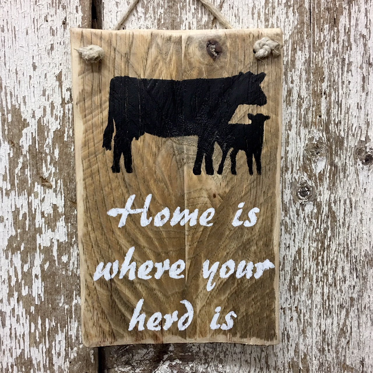 Farm sign farmers signs Home is where your herd is reclaimed wood sign