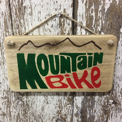 mountain bike sign  gift  green red letters and brown mountain