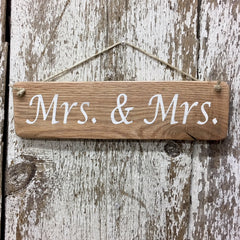 lesbian wedding gift idea Mrs and Mrs sign on reclaimed wood