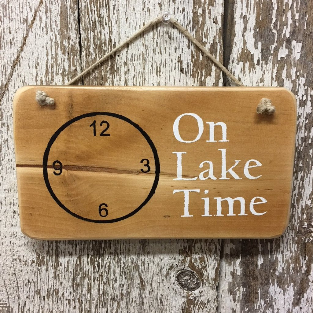 on lake time reclaimed wood sign hand painted lake life decor