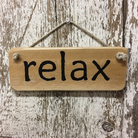 relax reclaimed wood sign hand painted in black yoga peace breathe