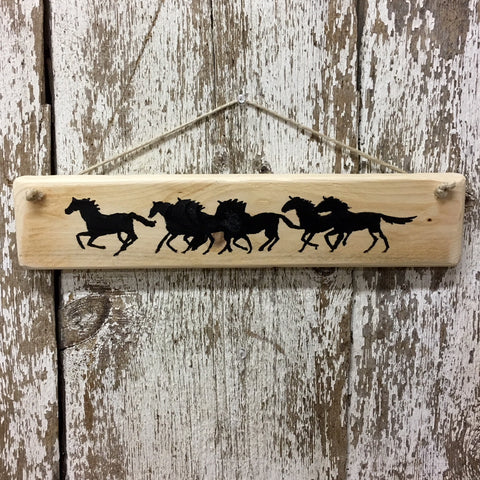 running horses reclaimed wood sign horse themed gifts decor