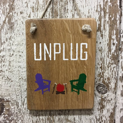 camping signs and decor unplug wood sign with campfire