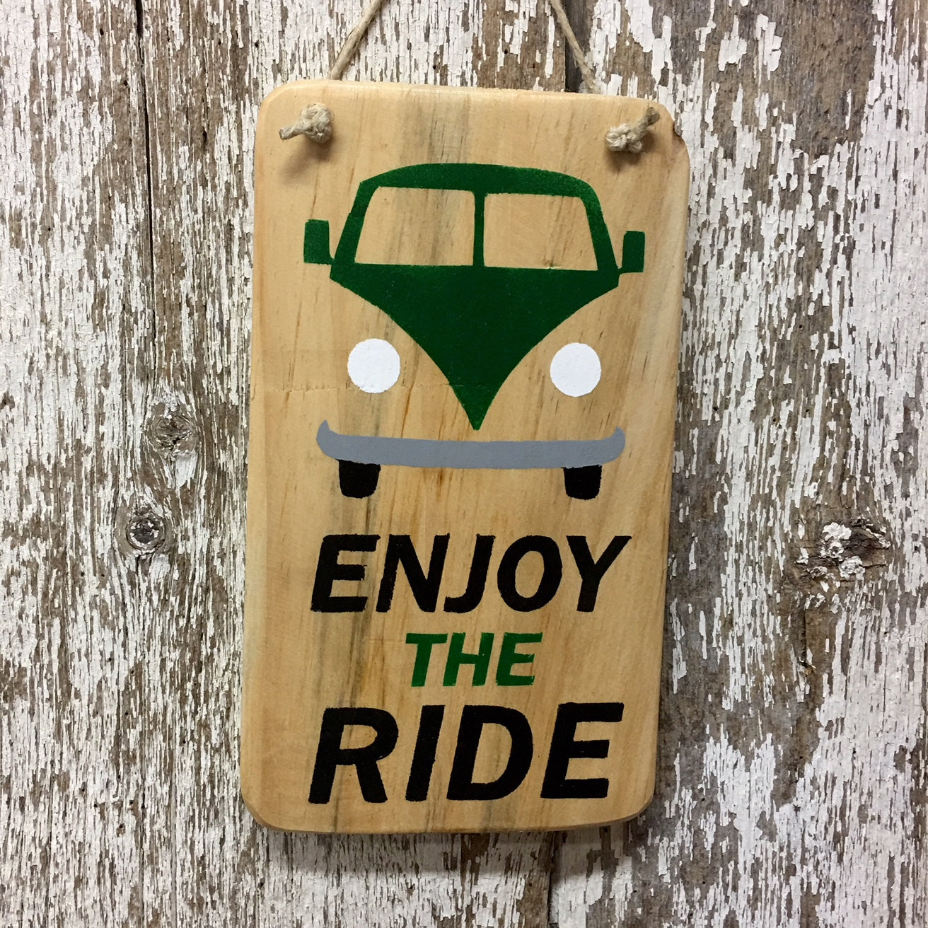 enjoy the ride vw bus reclaimed wood sign bus in green