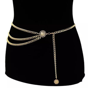Gold statement waist chain