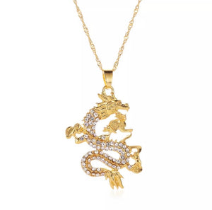 Dragon rhinestone pendant necklace