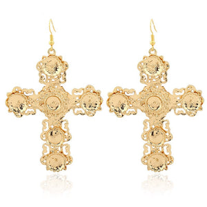 Baroque gold drop cross earrings