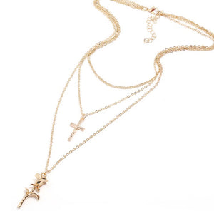 Cross & rose 3pc gold layer necklace