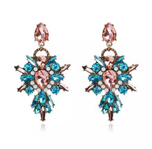 Pink & Blue Rhinestone drop earrings