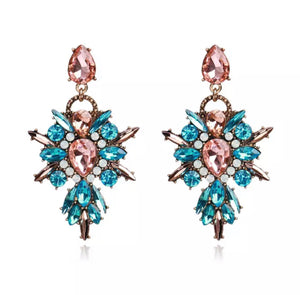Pink & Blue Rhinestone statement earrings
