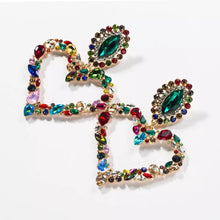 Heart multi rhinestone earrings