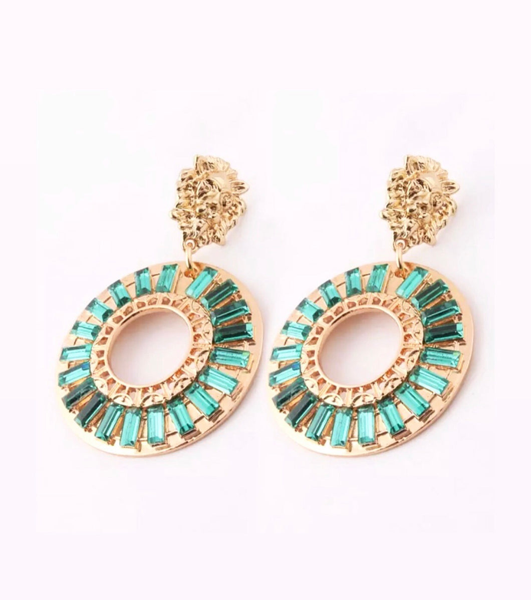 Lion turquoise rhinestone earrings