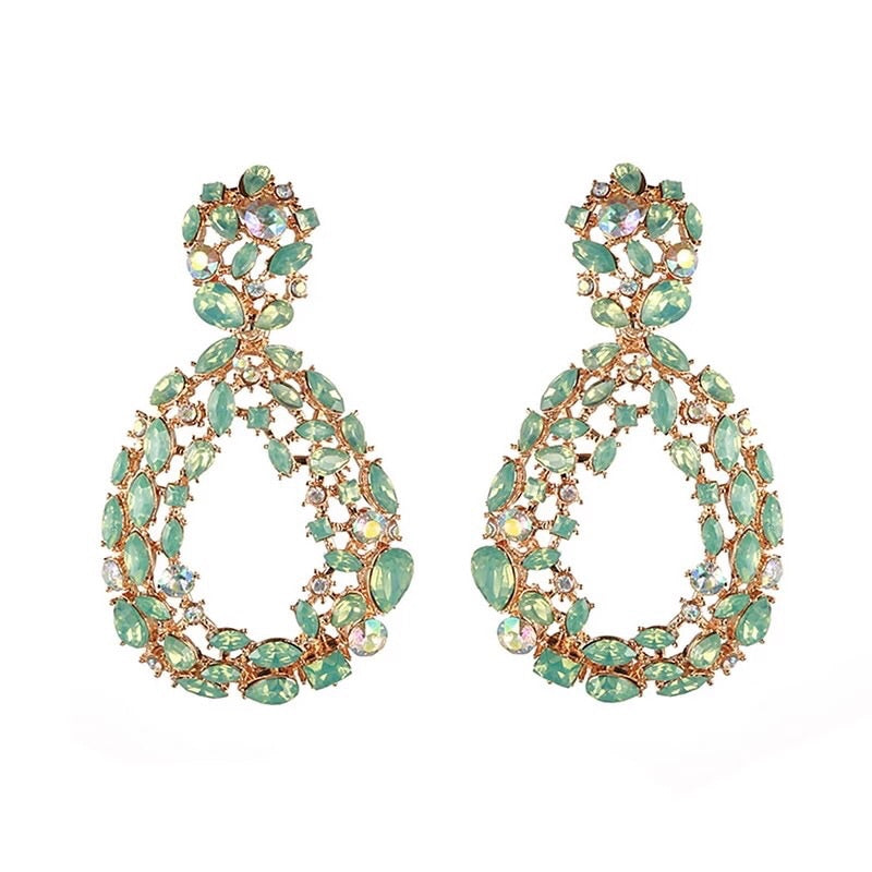 Green rhinestone water drop earrings