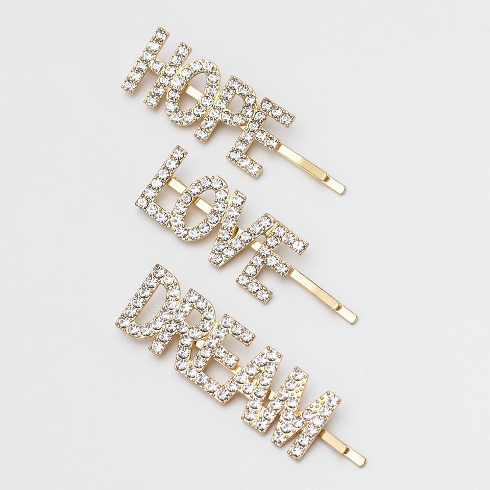 Rhinestone Hope, love & dream hair slides