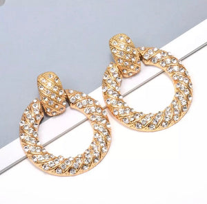 Gold rhinestone circle statement earrings