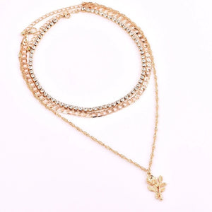 Gold rhinestone 3pc flower layer necklace