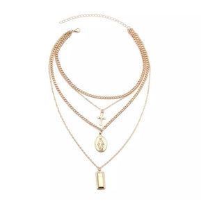 Gold cross layer necklace