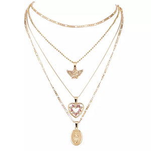 Angel rhinestone layer necklace