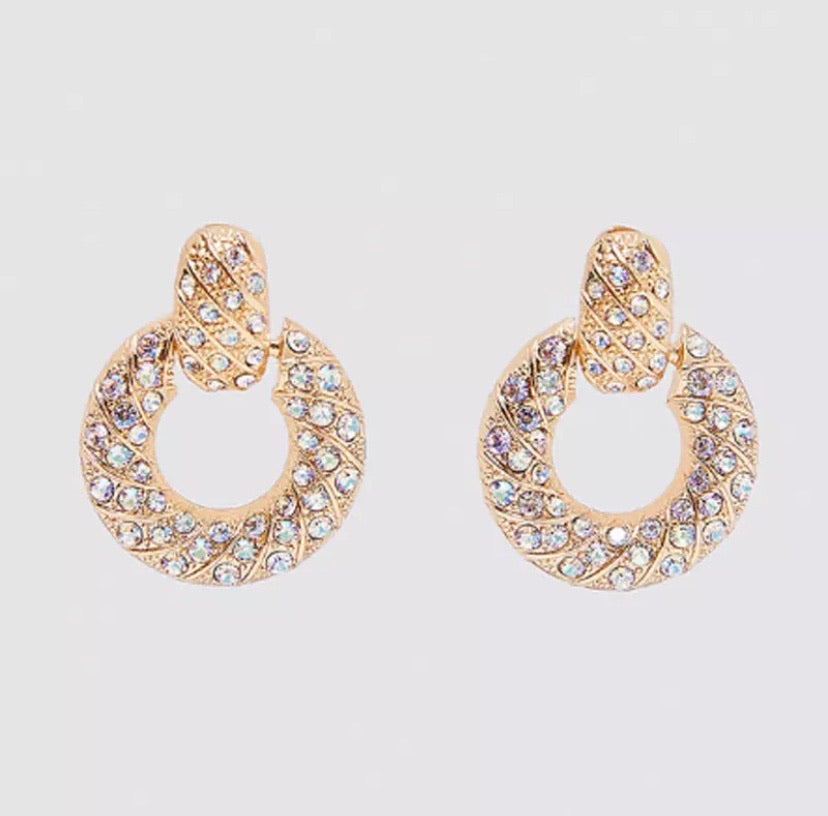 Gold rhinestone small hoop stud earrings
