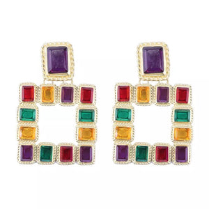 Jewel geometric statement earrings