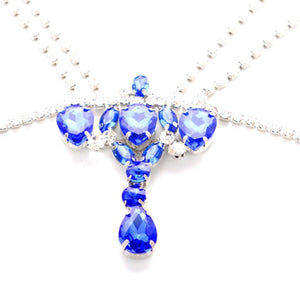 Rhinestone blue jewel body chain