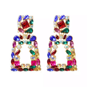 Multi rhinestone luxe earrings