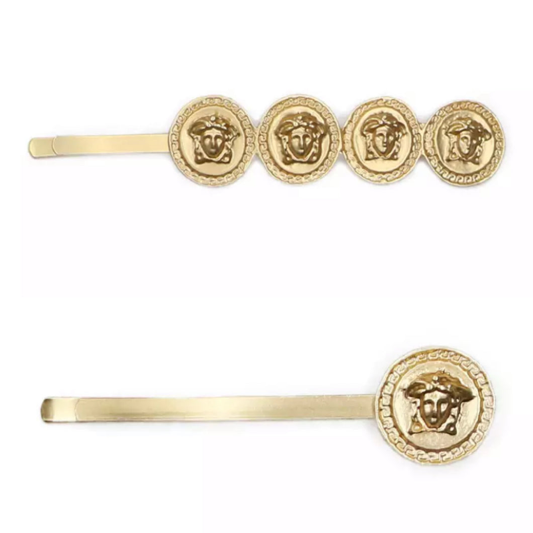 Gold medusa hair slides