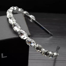 Silver oval diamond headband
