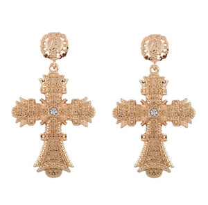 Cross rhinestone statement earrings