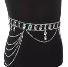 Silver jewel waist body chain