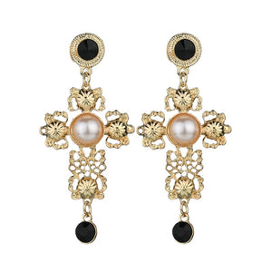 Black & gold baroque pearl cross earrings