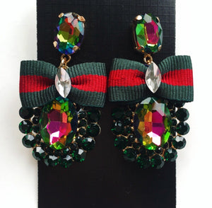 Green & red bow diamond drop earrings