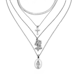 Silver 4PC layer cross & rose necklace