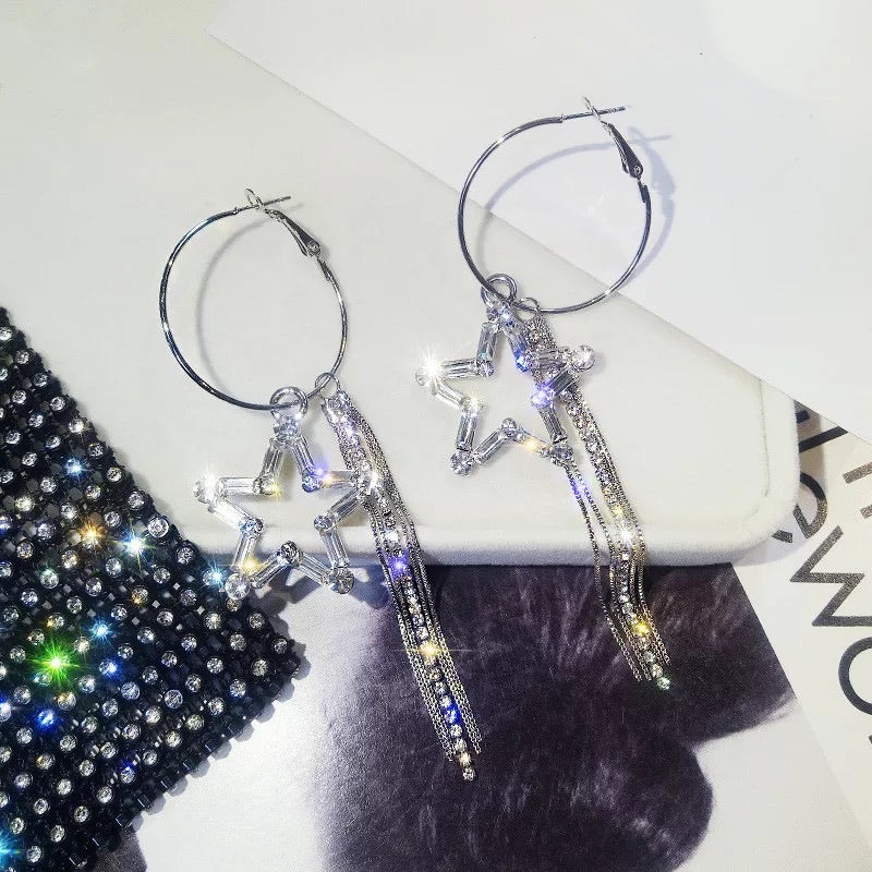Star rhinestone hoop earrings