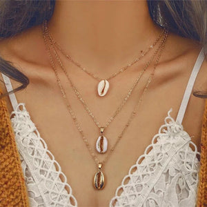 Gold shell 3pc layer necklace