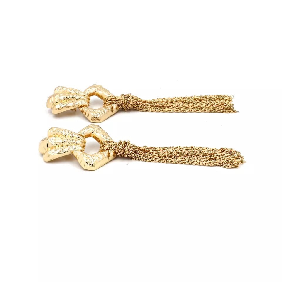 Gold drop tassel earrings
