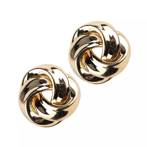 Gold knot twist earrings