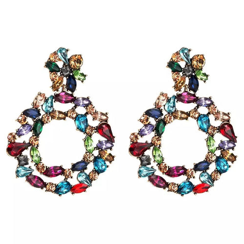 Multi rhinestone circle earrings