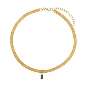 Gold simple emerald drop choker