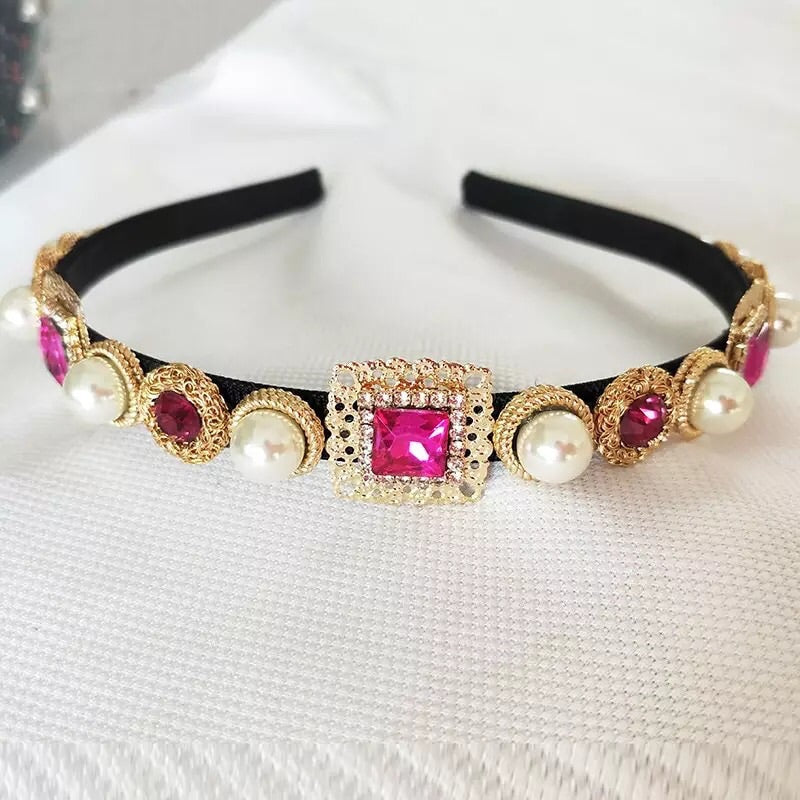 Pink gem statement headband