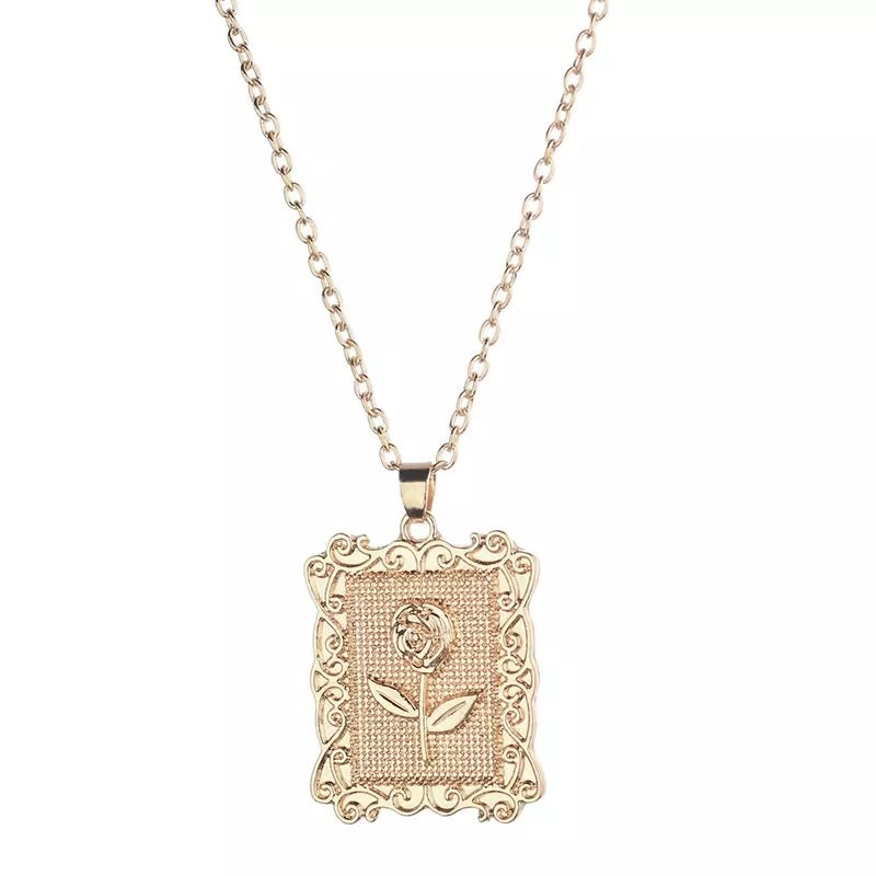 Rose pendant gold chain
