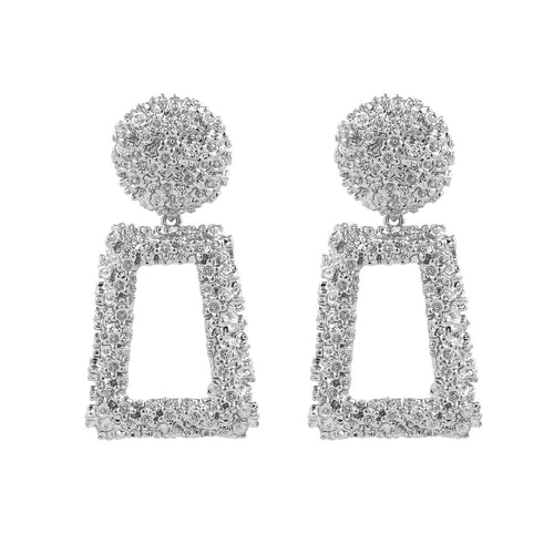 Silver geometric statement earrings