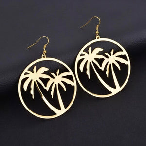 Palm tree hoop earrings